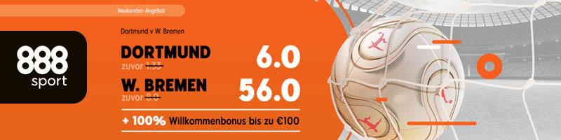 Willkommensbonus plus Top Quoten für Dortmund vs Werder Bremen bei 888sport