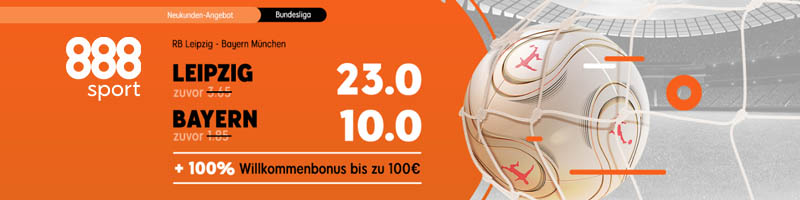 Top-Quoten und Willkommensbonus für Leipzig gegen Bayern bei 888sport