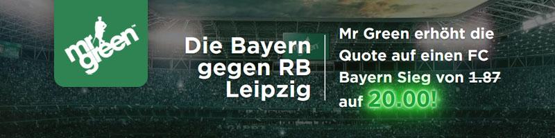 Neukunden erhalten Turboquote 20,00 für Bayern vs. RB Leipzig bei Mr. Green Sport