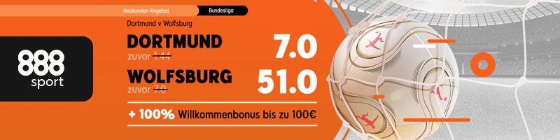 Das aktuelle Neukunden Angebot von 888sport für das Bundesliga Spiel Wolfsburg – Dortmund