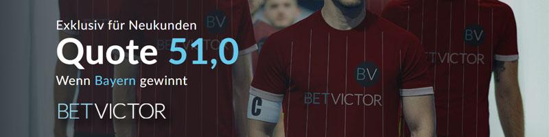 Nur für Neukunden von BetVictor: Top Quote für das Match Bayern München gegen Olympiakos
