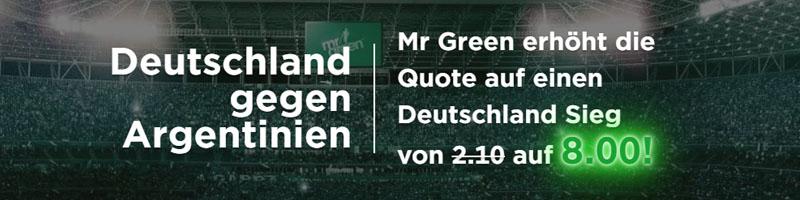 Siegt Deutschland gegen Argentinien? Mr Green Sport mit Top-Quote von 8.00