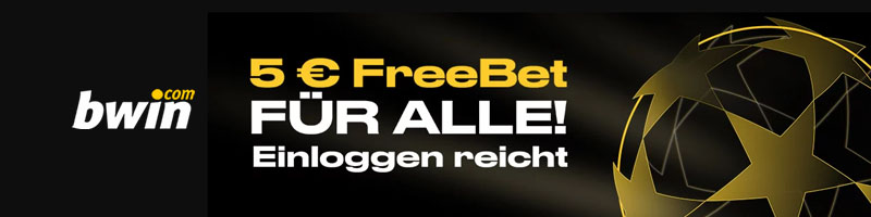 Jeder Kunde von Bwin erhält zur Zeit eine 5 Euro Freiwette – einloggen reicht hierfür vollkommen aus!