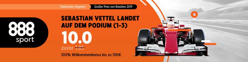 888sport: Turbo-Quote von 10.0 auf Sebastian Vettel beim großne Preis von Brasilien