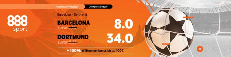 Das exklusive Neukunden-Angebot von 888sport für das Spiel Barcelona vs Dortmund