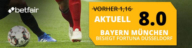 Top-Quote von 8.0 anstatt 1.16 auf den Sieg von Bayern München im Spiel gegen Fortuna Düsseldorf