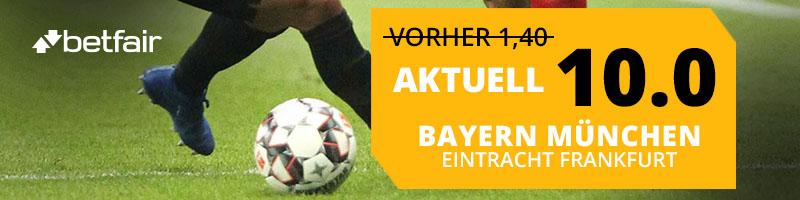 Bei einem Sieg von Bayern München bezahlt Betfair die Quote von 10.00