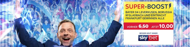 Skybet mit erhöhter Quote für Siege von Gladbach, Leverkusen und Frankfurt