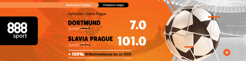Das Neukunden-Angebot von 888Sport: Mega Quote für Dortmund gegen Slavia Prague