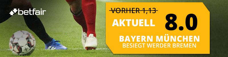 Bayern besiegt Bremen – Betfair zahlt dem Gewinner eine erhöhte Quote aus