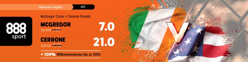 Bei 888sport Turboquote von 21.00 zum Fight des Jahres zwischen McGregor vs. Cerrone sichern