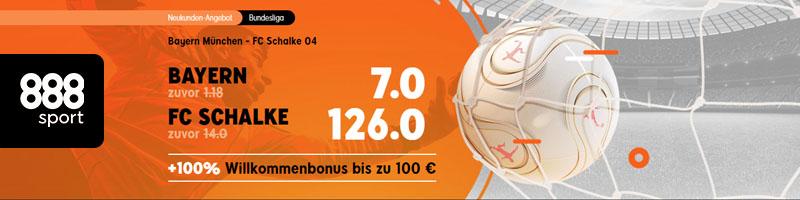 Jetzt Bayern – Schalke mit dem tollen Neukundenangebot von 888sport tippen