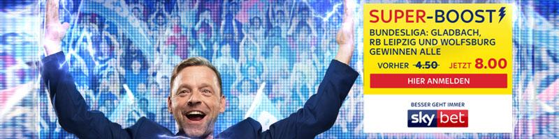M'Gladbach-, Leipzig- oder Wolfsburg-Fan? Dann jetzt den Super-Boost von Skybet nutzen!