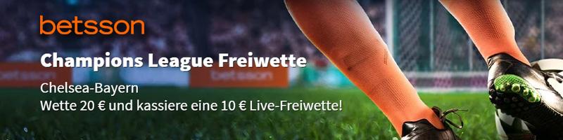 Mit 20€ Wetten und 10€ sichern! Champions League Freiwette bei Betsson