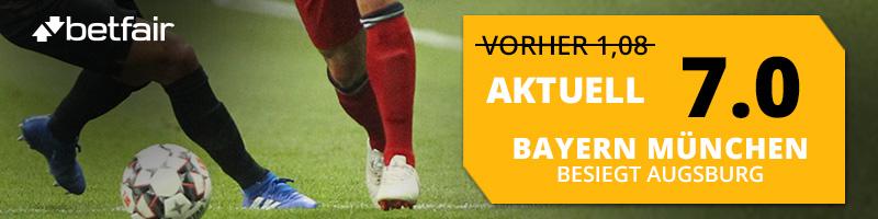 Top Quote auf Bayern besiegt Augsburg bei Betfair