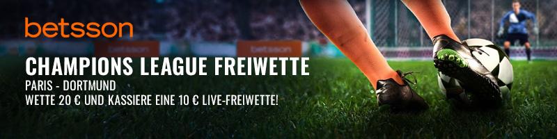 """Die """"Champions League Freiwette"""" von Betsson für das Spiel Paris-Dortmund"""