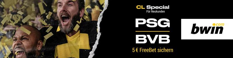 CL Special bei Bwin: 5€ Freebet bei PSG gegen BVB