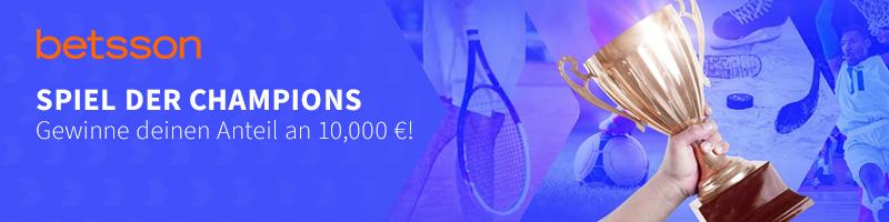 """10.000 Euro Gesamtgewinn beim """"Spiel der Champions"""" von Betsson"""