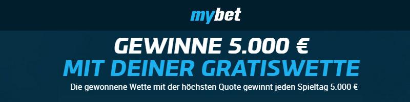 Bei mybet eine Wette auf ein Spiel der Bundesliga platzieren und bis zu 5.000€ gewinnen