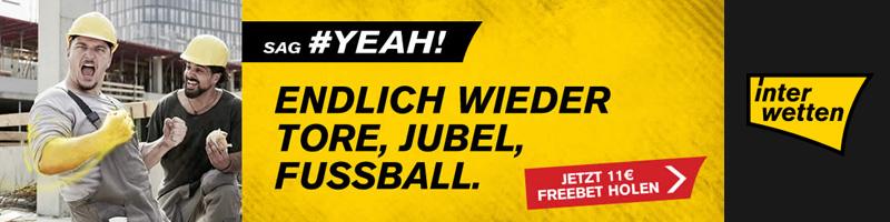 Jubel bei Interwetten mit 11€ Freiwette – Der Fußball ist wieder da