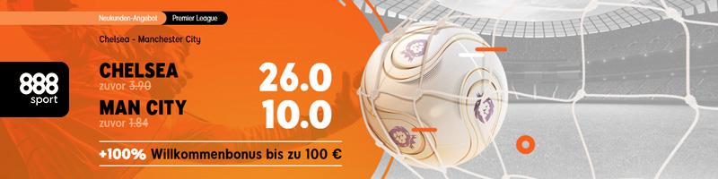 Zum Top-Spiel Chelsea gegen Man City hält der Wettanbieter 888sport ein besonderes Special parat