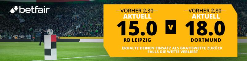 Wetten auf RB Leipzig vs Dortmund: erhöhte Quoten bei Betfair