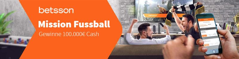 Mit der Mission Fussball von Betsson attraktive Cash Preise im Gesamtwert von 100.000€ gewinnen