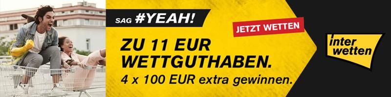 Interwetten bietet 11 Euro Wettguthaben und die Chance 4 x 100 Euro gewinnen zu können