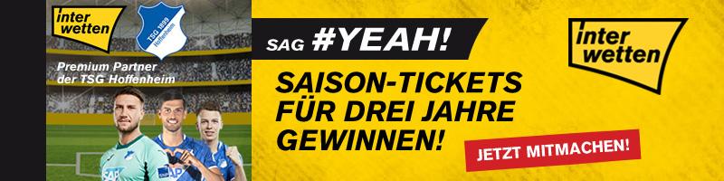 Jetzt mitmachen! – Interwetten verlost Saison-Tickets für Hoffenheim für die nächsten 3 Jahre
