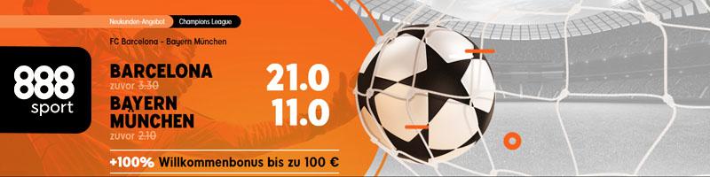 Erhöhte Quoten bei 888sport: 21.00 für Barcelona und 11.00 für Bayern München!