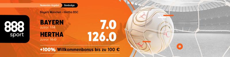 Erhöhte Quoten im Bundesliga Spiel Bayern gegen Hertha bei 888sport