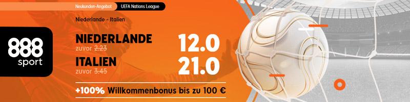 Niederlande vs Italien in der UEFA Nations League wird mit dem 888sport Quoten-Boost zum Hit