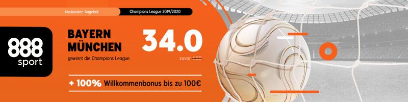 Quote von 34.0 für den Sieg von Bayern München über die Champions League – Nur bei 888sport