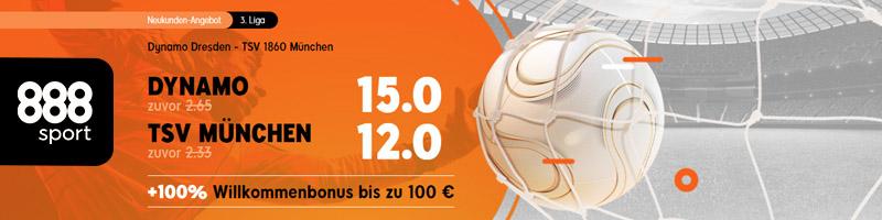 Erhöhte Quoten für Dynamo gegen TSV München – Nur für NEU-Kunden von 888sport
