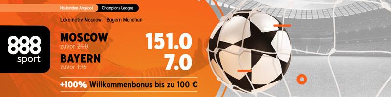 Überwältigendes Angebot von 888sport – erhöhte Wettquote (151.0) für Lokomotiv Moscow – Bayern München