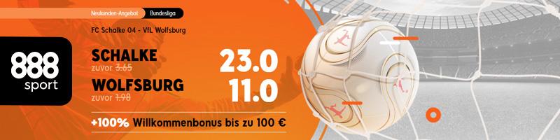 Neukunden Angebot von 888sport – Quoten Boost für das Spiel FC Schalke 04 gegen VfL Wolfsburg