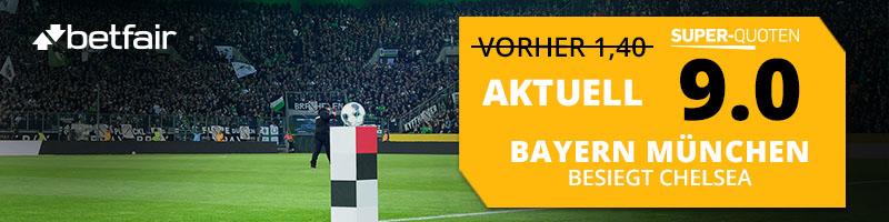 Bayern München vs. Chelsea – Betfair hält Quotenboost von 9.00 bereit