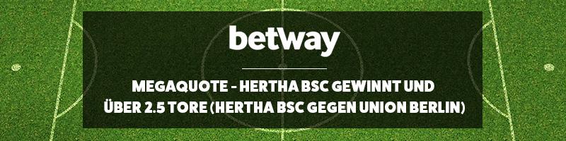 Hertha siegt mit über 2,5 Tore und es gibt die MegaQuote bei Betway