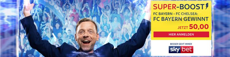 Skybet SuperBoost mit Top-Quote von 50.00 auf Sieg von Bayern gegen Chelsea