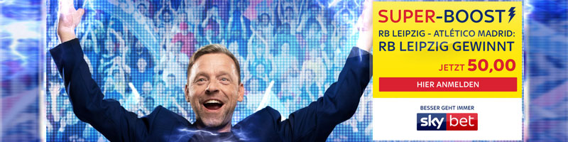 Skybet Quotenboost von 50.00 für RB Leipzig vs. Atletico Madrid mit Sieg auf RB Leipzig