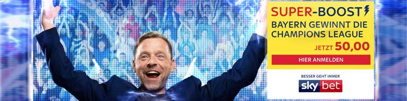 Quotenboost in Höhe von 50.00, wenn Bayern die CL gewinnt – Exklusiv für neue Kunden von Skybet
