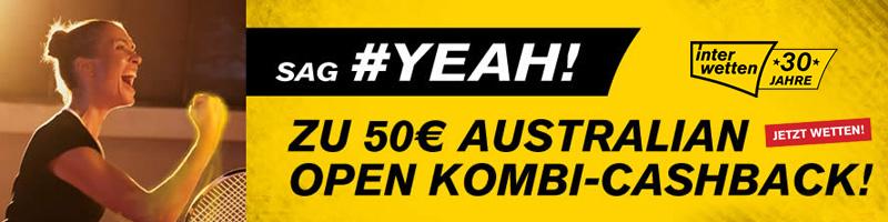 Exklusiv bei Interwetten – Bis zu 50 Euro Cashback auf Kombi-Wetten auf die Australian Open