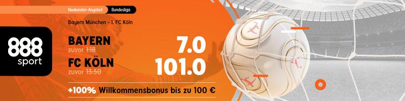 Neukunden-Angebot von 888sport – Top Quote für Bayern München gegen FC Köln