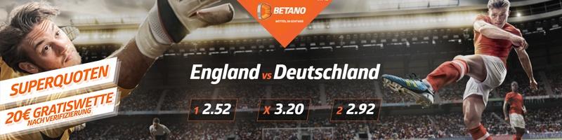 Exklusiv bei Betano: Super Quoten für das Euro 2020 Achtelfinal-Match England vs. Deutschland