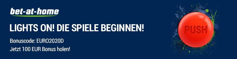 Bet-at-home und die Euro 2020 – Jetzt 100 Prozent Bonus, bis zu maximal 100 Euro, sichern!