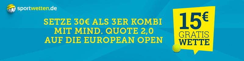 Sichern Sie sich eine 15€ Gratiswette für die Tennis EL auf Sportwetten.de